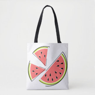 Watermelon Pieces tote bag green back