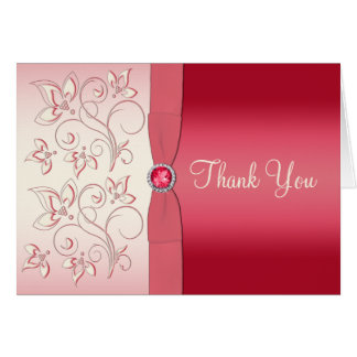 Watermelon Pink and Ivory Thank You Card