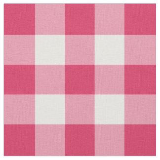 Watermelon Pink and White Gingham Pattern Fabric