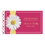 Watermelon Pink Shasta Daisy Wedding Favour Tag Business Cards