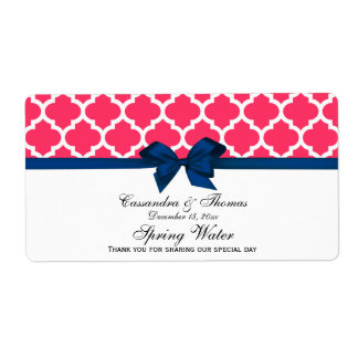 Watermelon Pink Wht Moroccan Navy Bow Water Label Shipping Label