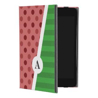 Watermelon Polka Dot and Stripe Monogram iPad Mini 4 Case