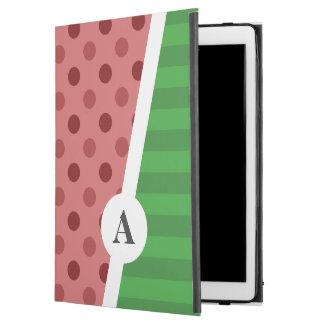 "Watermelon Polka Dot and Stripe Monogram iPad Pro 12.9"" Case"