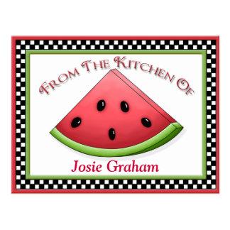 Watermelon Recipe Cards Postcard