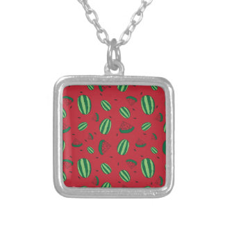 Watermelon Red Pattern Silver Plated Necklace