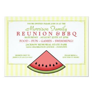 """Watermelon Slice Family Reunion Invitations 5"""" X 7"""" Invitation Card"""