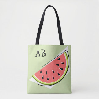 Watermelon Slice Green monogram  tote bag