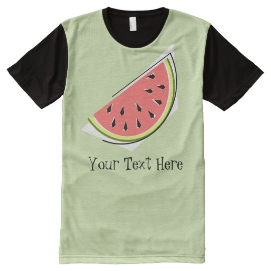 Watermelon Slice Green Text all over panel
