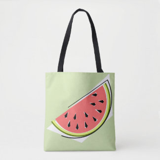 Watermelon Slice Green tote bag pink back