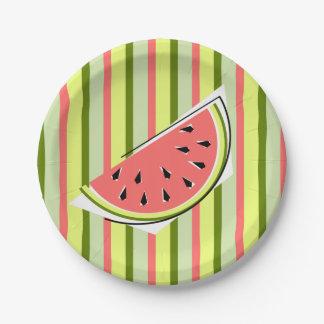 Watermelon Slice Stripe paper plates