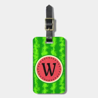 Watermelon Slice Summer Fruit with Rind Monogram Luggage Tag