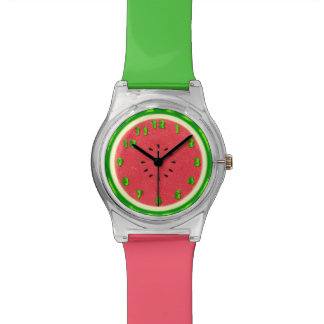 Watermelon Slice Summer Fruit with Rind Wrist Watches