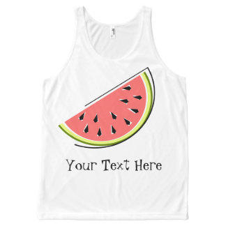 Watermelon Slice Text all over tank top