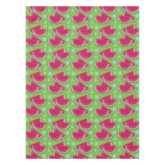 Watermelon Slices on Green with Blue Dots Tablecloth