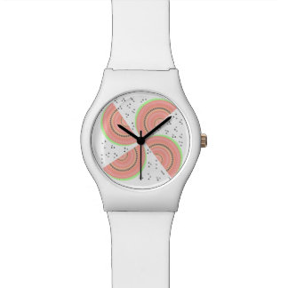Watermelon Slices Pinwheel and Boho Seeds Look Wrist Watches
