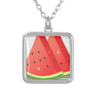 Watermelon Slices Silver Plated Necklace