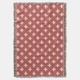 Watermelon Southern Cottage Fleur de Lys Throw Blanket