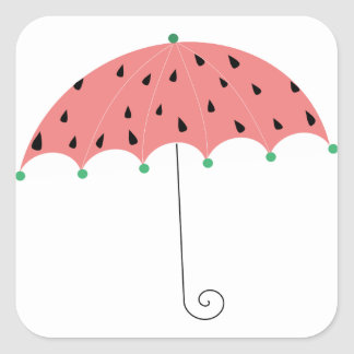 Watermelon Spring Umbrella Square Sticker