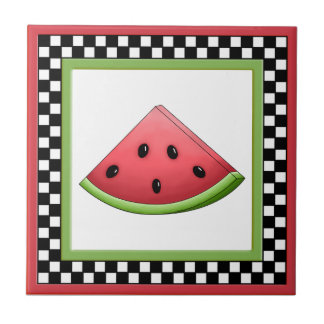 Watermelon Square Checkerboard Tiles & Trivets