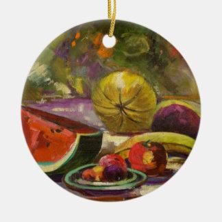 Watermelon Still Life Ceramic Ornament