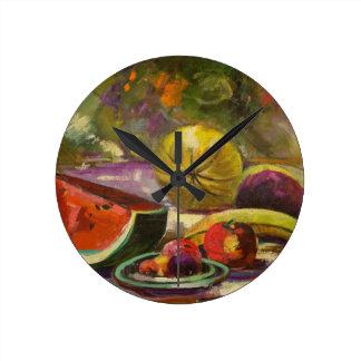 Watermelon Still Life Round Clock