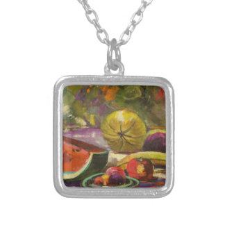 Watermelon Still Life Silver Plated Necklace