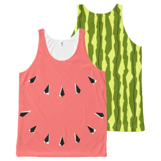Watermelon Stripe all over tank top pink front