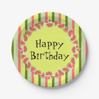 Watermelon Stripe Classic Happy Birthday Paper Plate