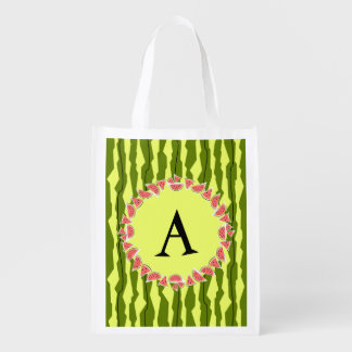Watermelon Stripe monogram reusable bag