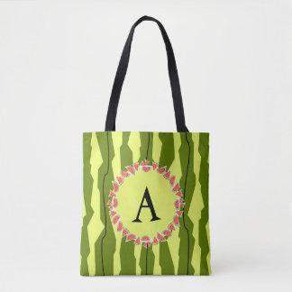 Watermelon Stripe monogram  tote bag
