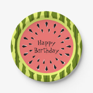 Watermelon Stripe Pink Happy Birthday paper plates