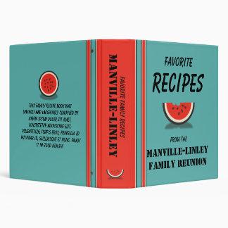 Watermelon Stripes Custom 1.5 Family Recipe Binder