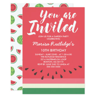 Watermelon Summer Birthday Party Card