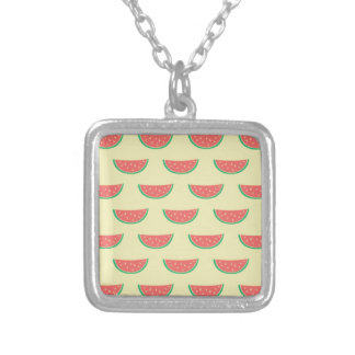 watermelon summer pattern silver plated necklace
