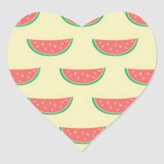 watermelon summertime pattern heart sticker