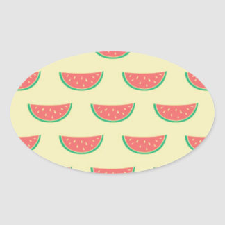 watermelon summertime pattern oval sticker
