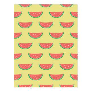 watermelon summertime pattern postcard