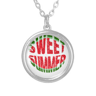 Watermelon - sweet summer silver plated necklace