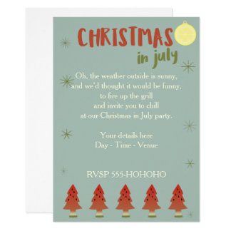 Watermelon Trees Christmas In July Party Invite