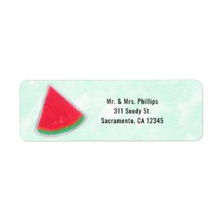Watermelon Watercolor Birthday Party Invitation Return Address Label