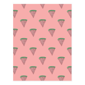 Watermelon Wedges in Watercolors on Rosy Pink Postcard