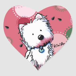 Watermelon Westie Heart Stickers