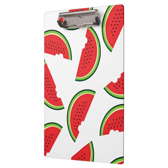 Watermelon With A Bite Missing On White Background Clipboard