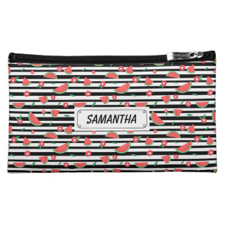 Watermelons and stripes cosmetics bags