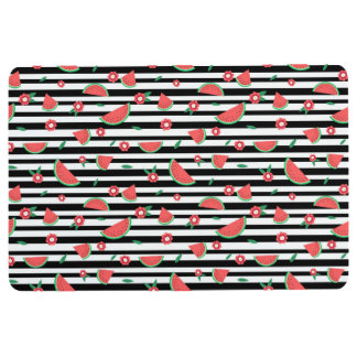 Watermelons and stripes floor mat