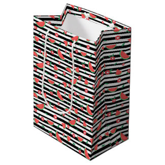 Watermelons and stripes medium gift bag