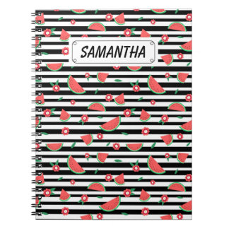 Watermelons and stripes spiral notebooks