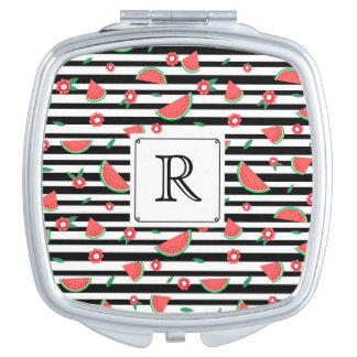 Watermelons and stripes travel mirror