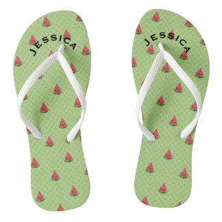 Watermelons Summer Personalized Lime Green Dots Flip Flops