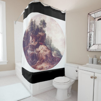 Watermill Landscape River Waterfall Shower Curtain
